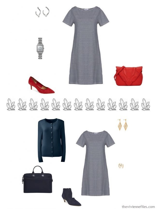 7. 2 ways to accessorize a striped dress from a capsule wardrobe