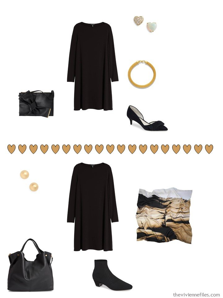 7. 2 ways to wear a black dress from a travel capsule wardrobe
