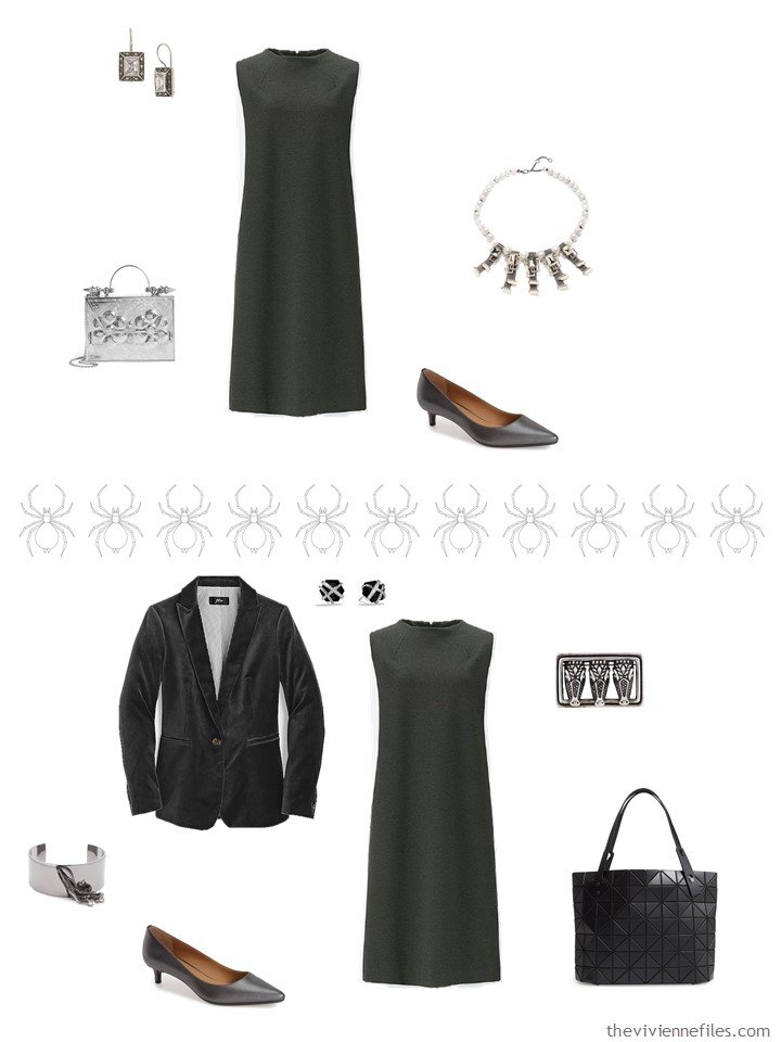 7. 2 ways to wear a grey dress from a business travel capsule wardrobe