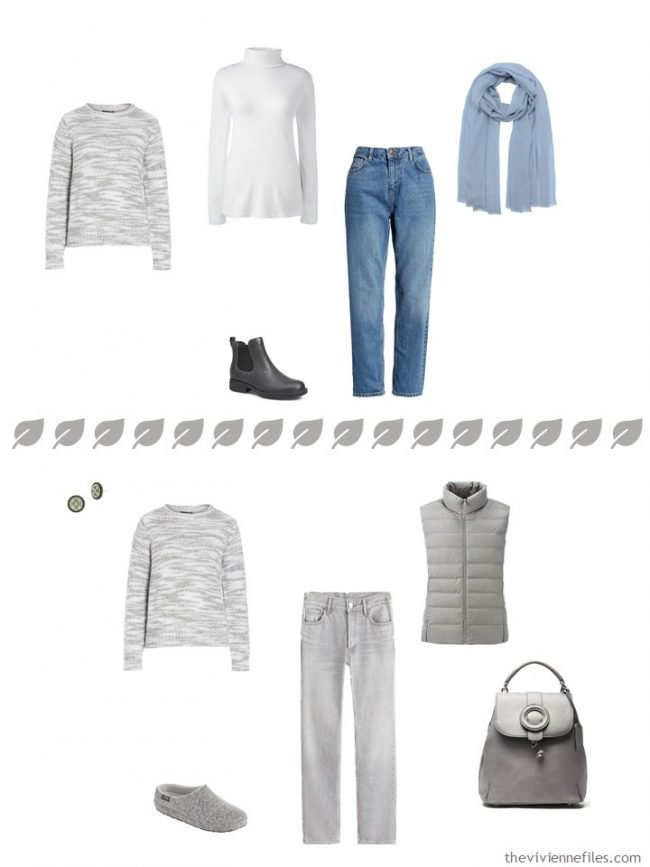 7. 2 ways to wear a grey sweater from a travel capsule wardrobe