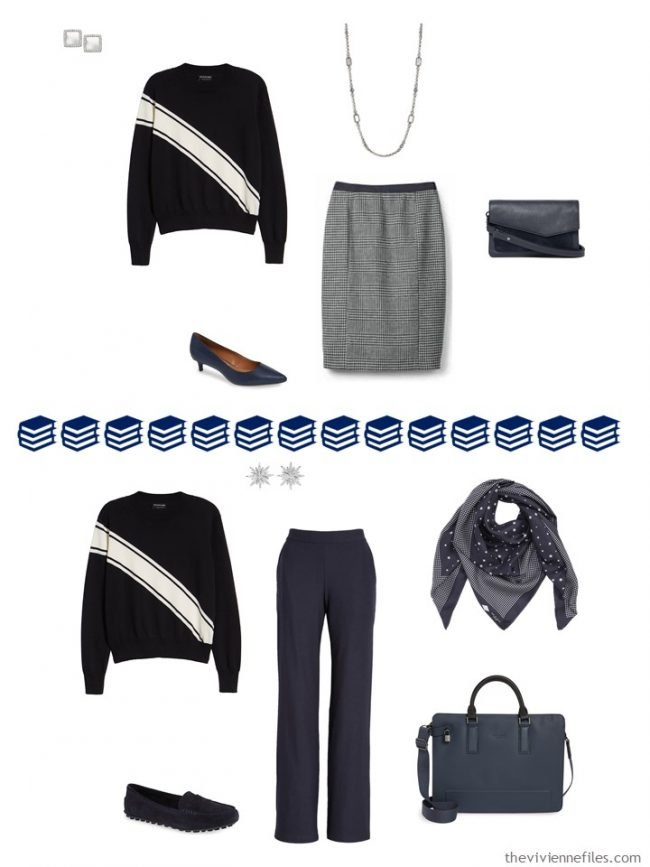 7. 2 ways to wear a novelty sweater from a travel capsule wardrobe