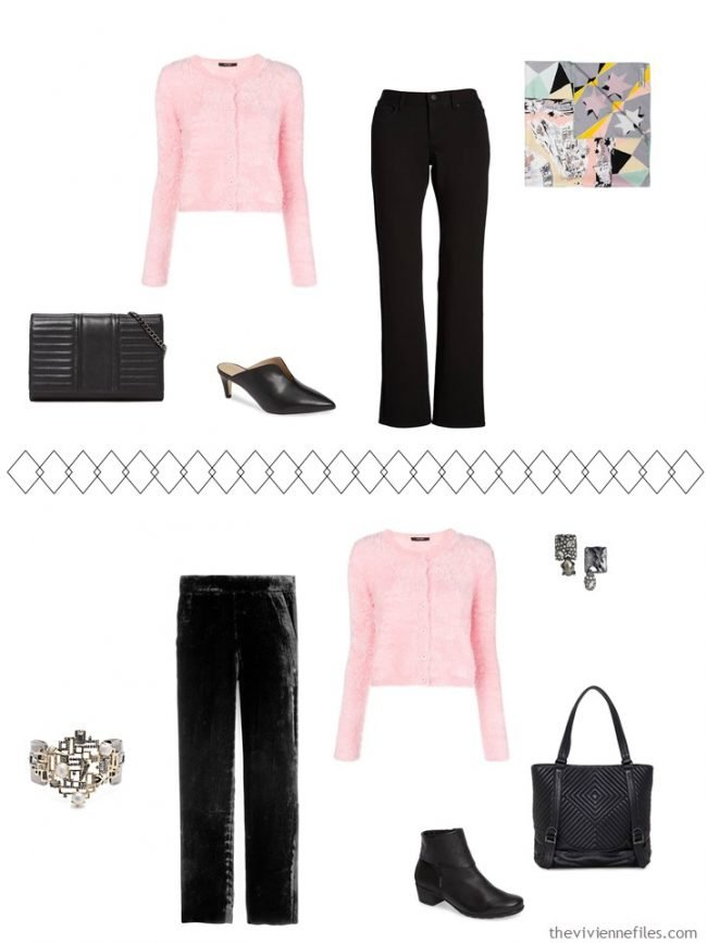 7. 2 ways to wear a pink sweater from a travel capsule wardrobe