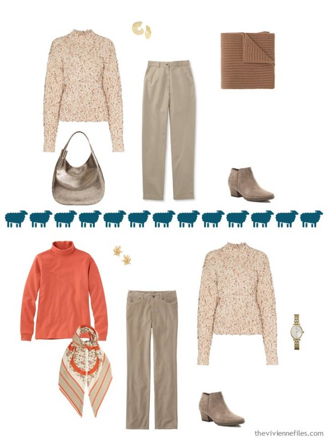 7. 2 ways to wear a rust marled sweater from a travel capsule wardrobe
