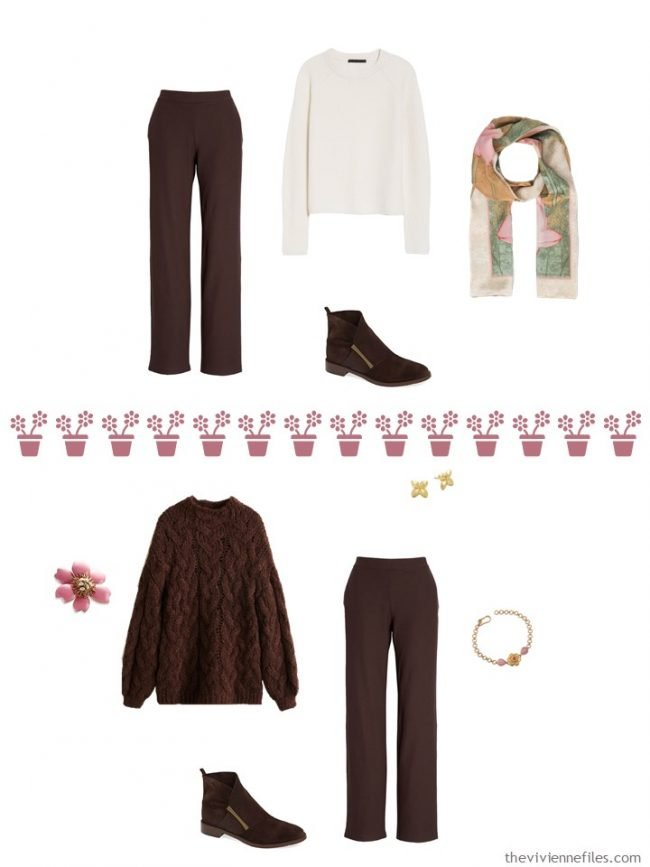 7. 2 ways to wear brown pants from a travel capsule wardrobe