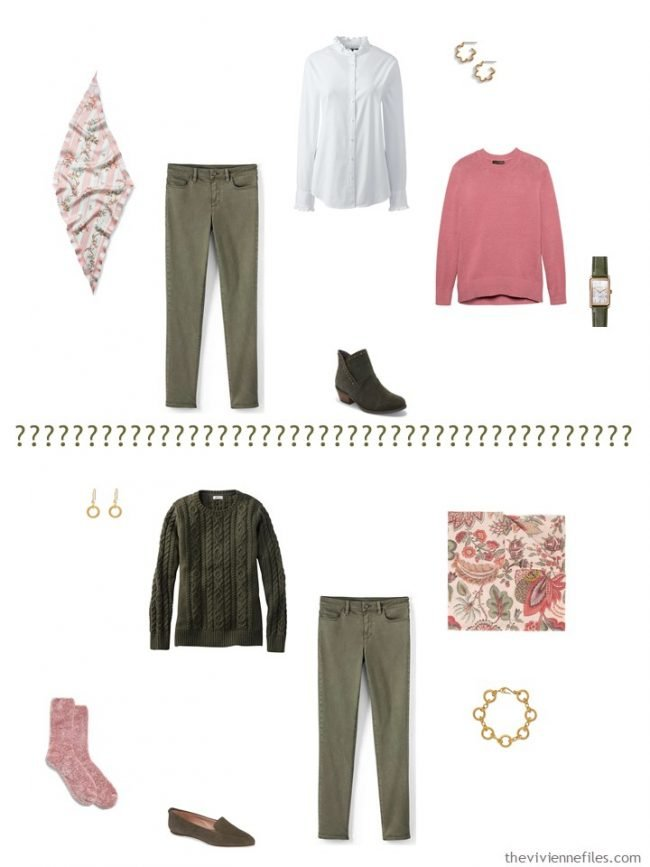 7. 2 ways to wear olive pants from a capsule wardrobe
