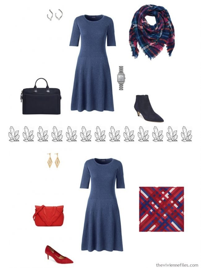 8. 2 ways to accessorize a blue dress from a capsule wardrobe