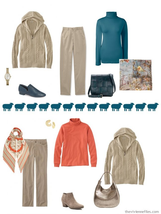 8. 2 ways to wear a beige hooded cardigan from a travel capsule wardrobe