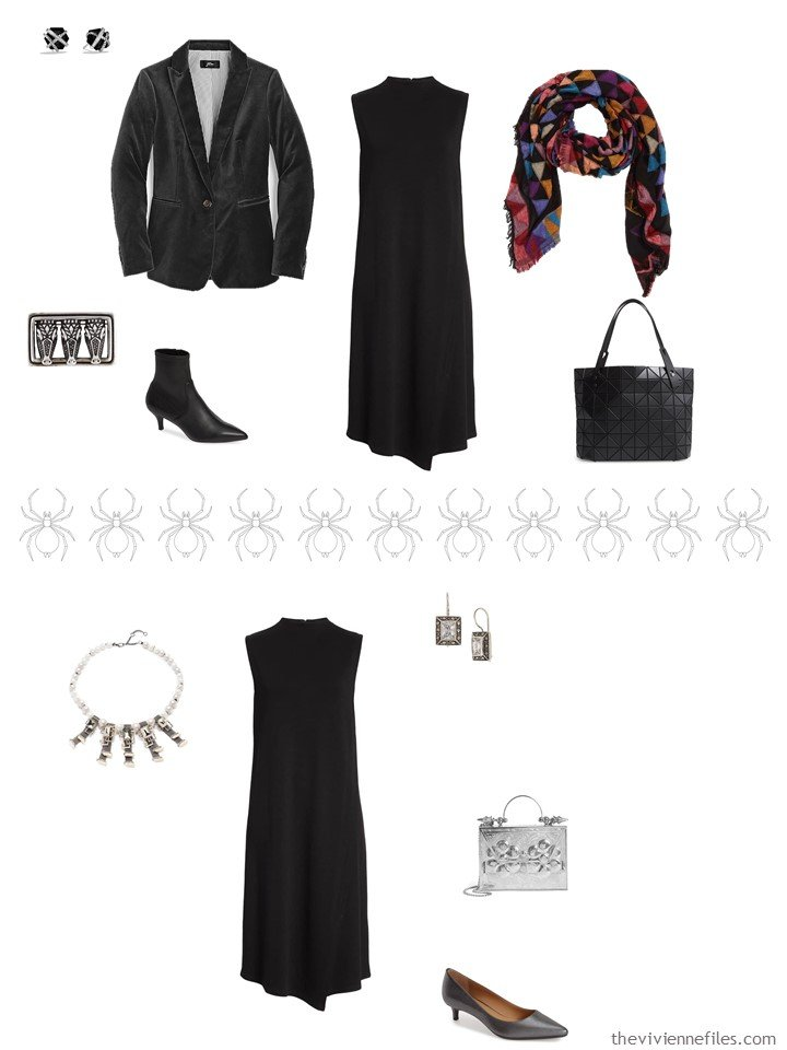 8. 2 ways to wear a black dress from a business travel capsule wardrobe