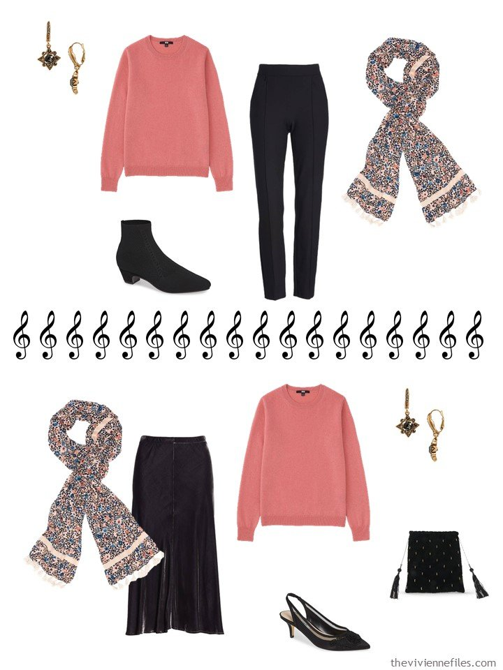 8. 2 ways to wear a coral sweater from a travel capsule wardrobe