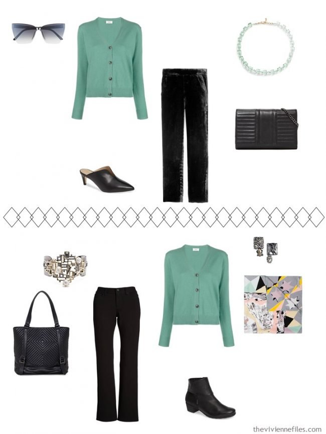 8. 2 ways to wear a green sweater from a travel capsule wardrobe