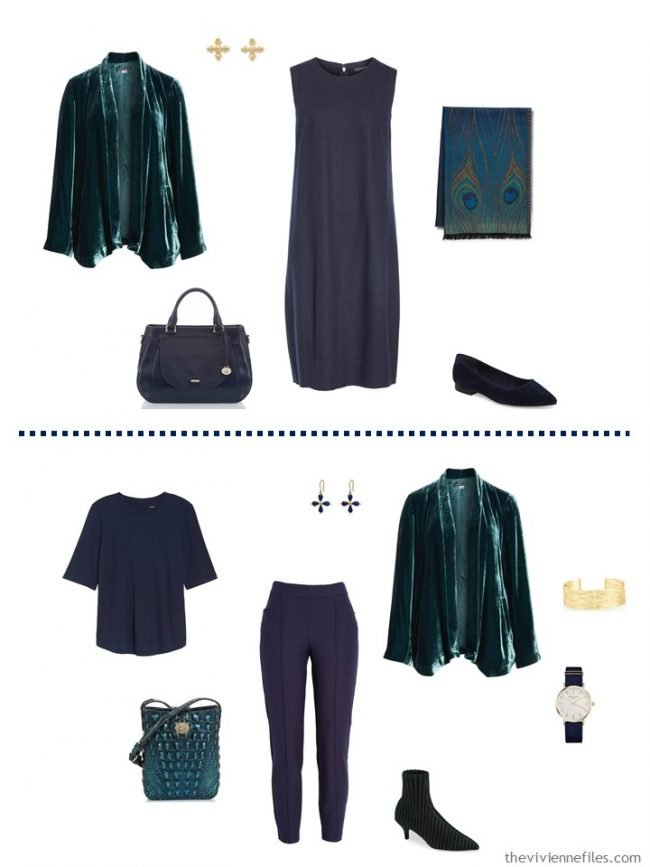 8. 2 ways to wear a green velvet jacket from a travel capsule wardrobe