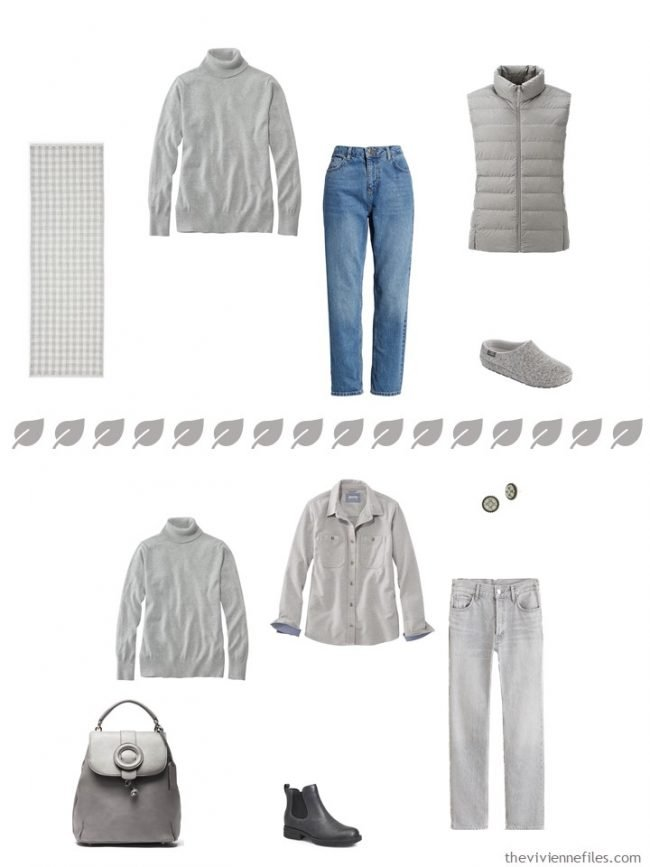 8. 2 ways to wear a grey turtleneck from a travel capsule wardrobe