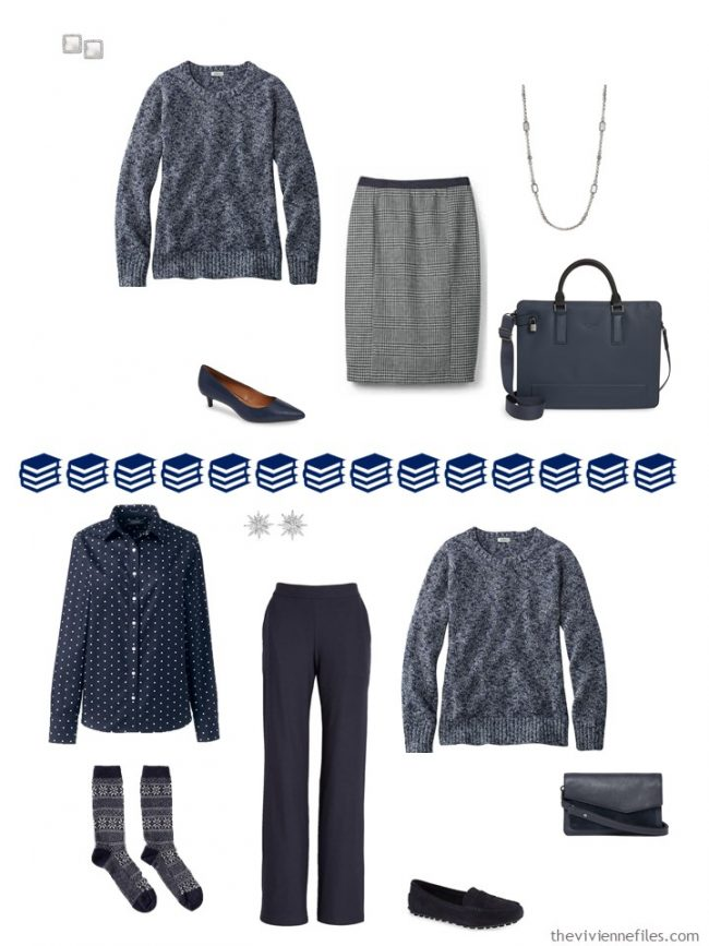 8. 2 ways to wear a navy marled sweater from a travel capsule wardrobe