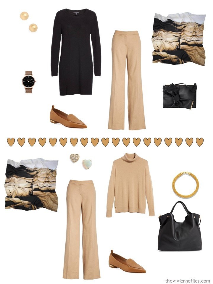 8. 2 ways to wear camel pants from a travel capsule wardrobe
