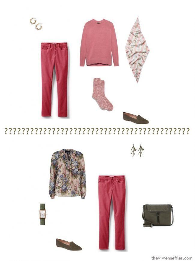 8. 2 ways to wear pink jeans from a capsule wardrobe