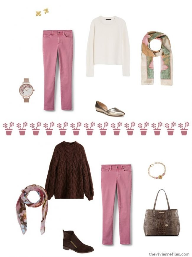 8. 2 ways to wear pink jeans from a travel capsule wardrobe