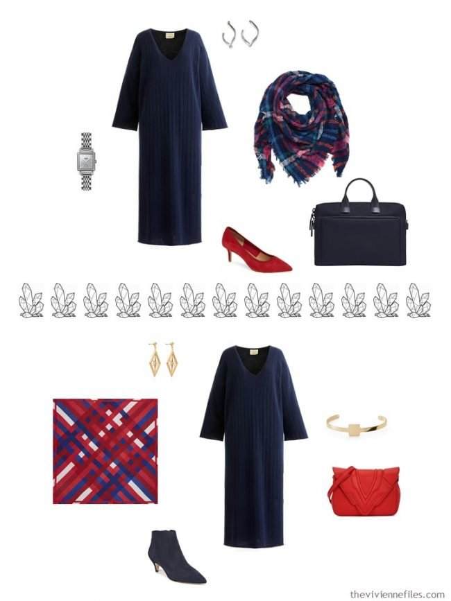 9. 2 ways to accessorize a navy dress from a capsule wardrobe