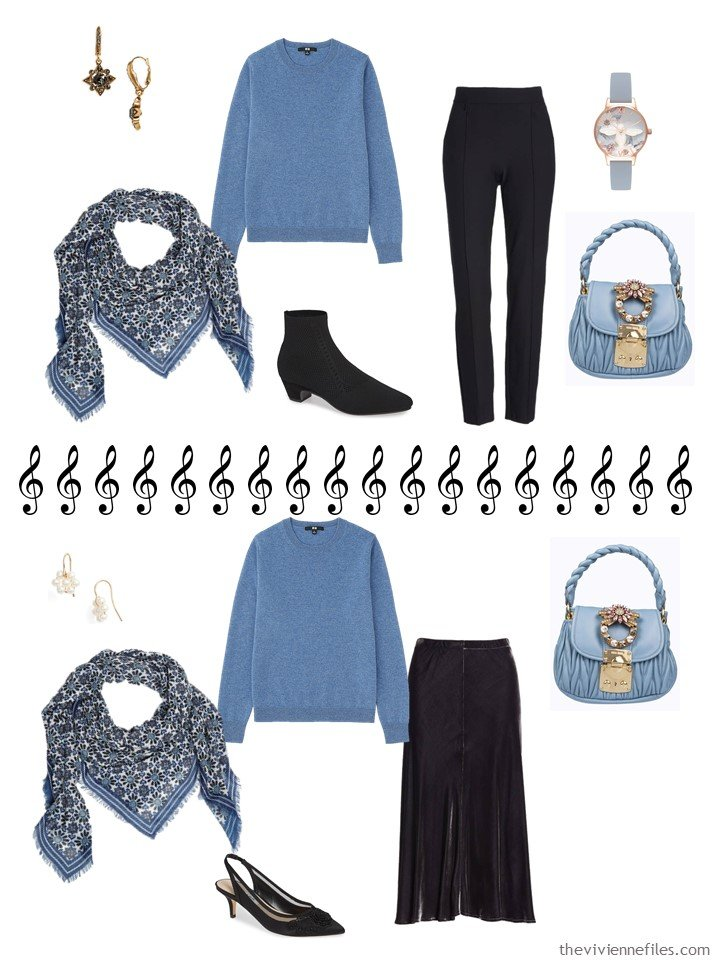 9. 2 ways to wear a blue sweater from a travel capsule wardrobe