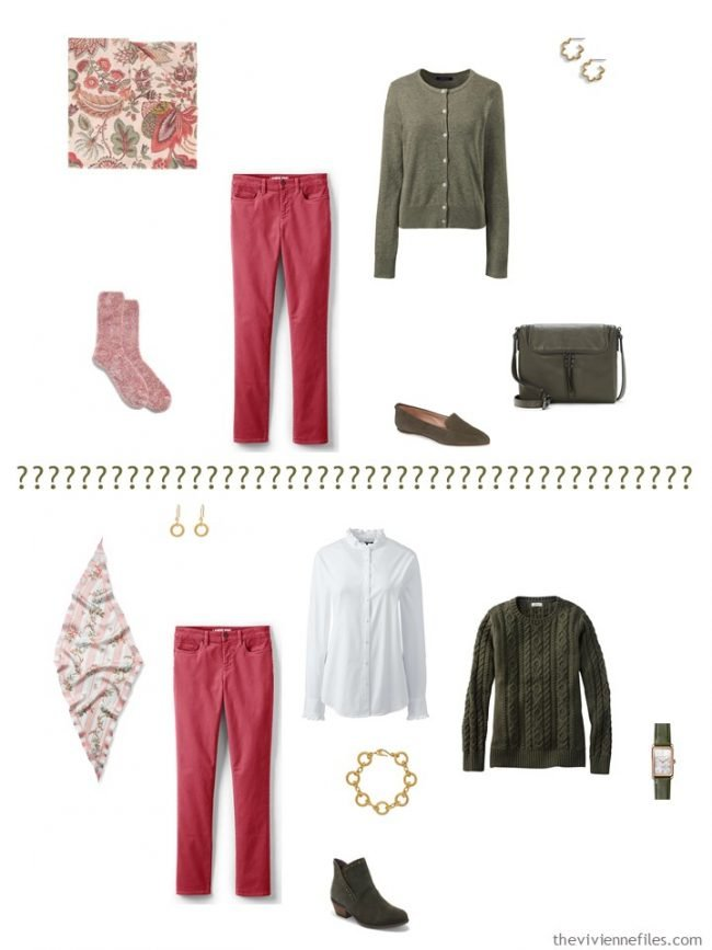 9. 2 ways to wear pink jeans from a capsule wardrobe