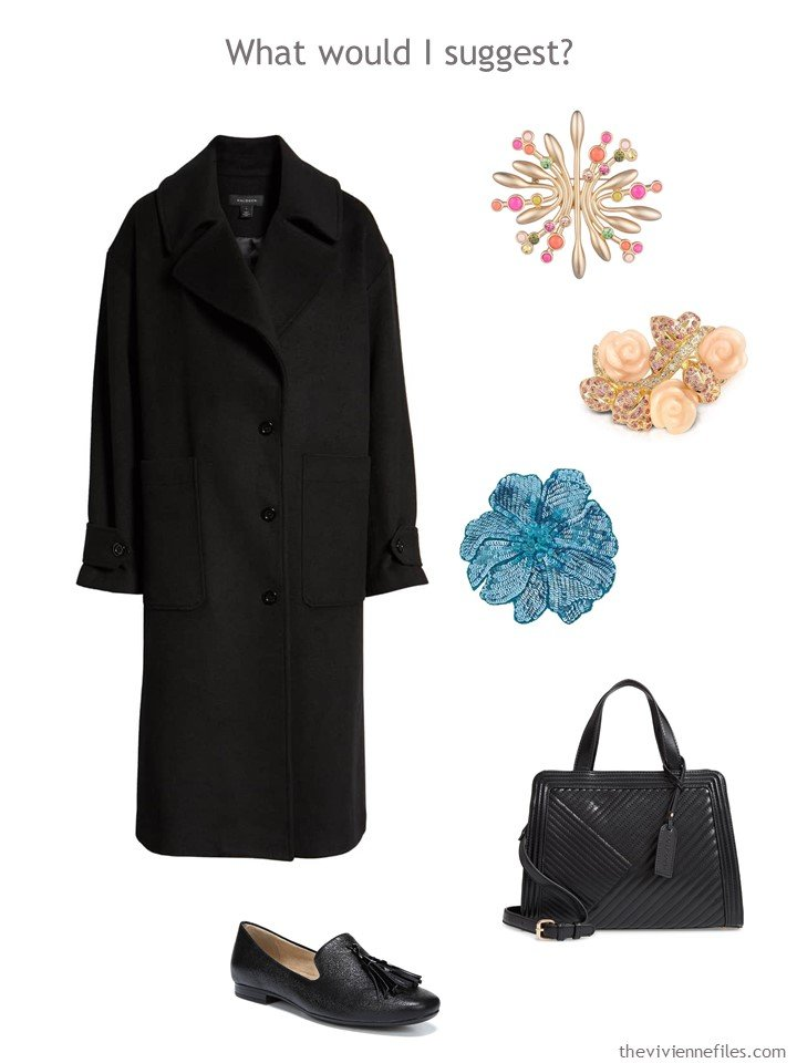 1. adding a black coat, bag, loafers, and 3 pastel brooches to a capsule wardrobe