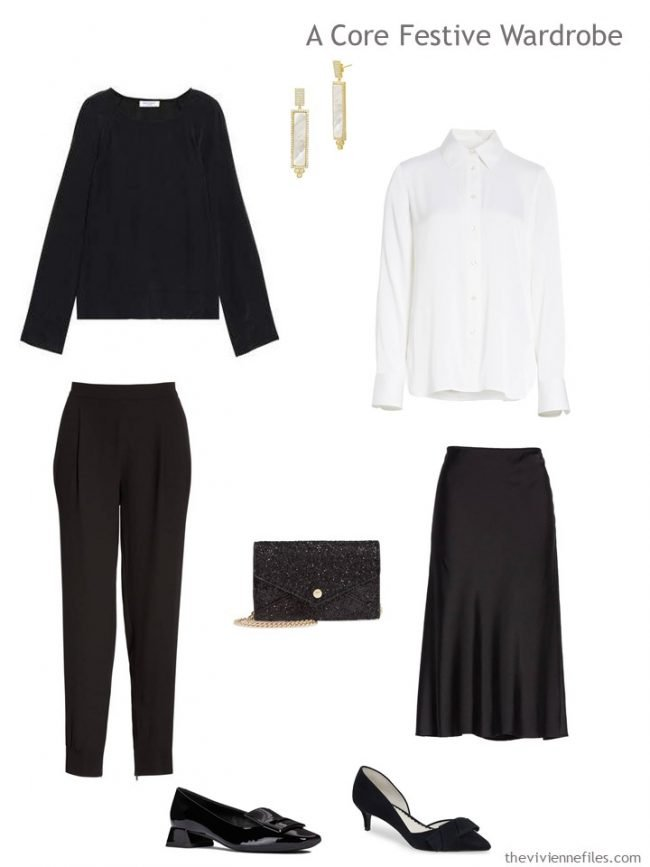 1. black & white silk capsule party wardrobe