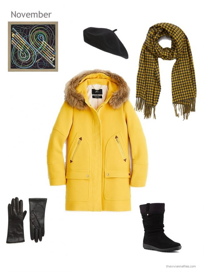1. bright yellow winter coat with black accessories