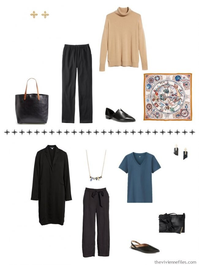 10. 2 additional outfits from a capsule wardrobe in black, camel, iviroy and teal