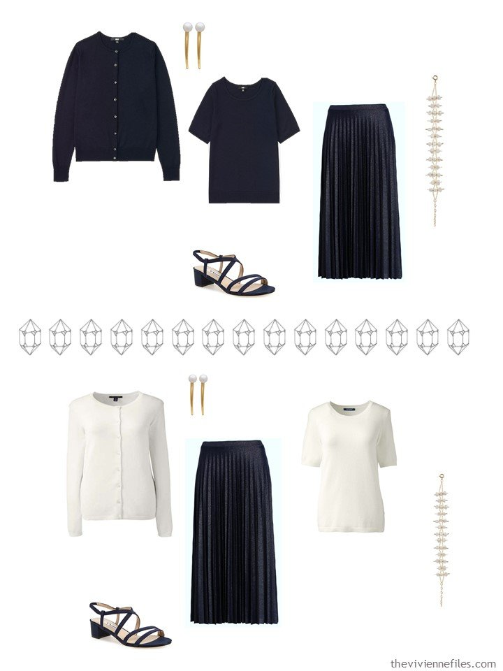 10. 2 outfits from a navy, red, blue and ivory capsule wardrobe