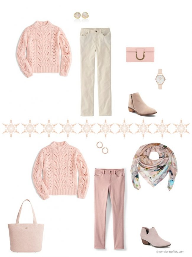 10. 2 ways to wear a pink sweater from a capsule wardrobe