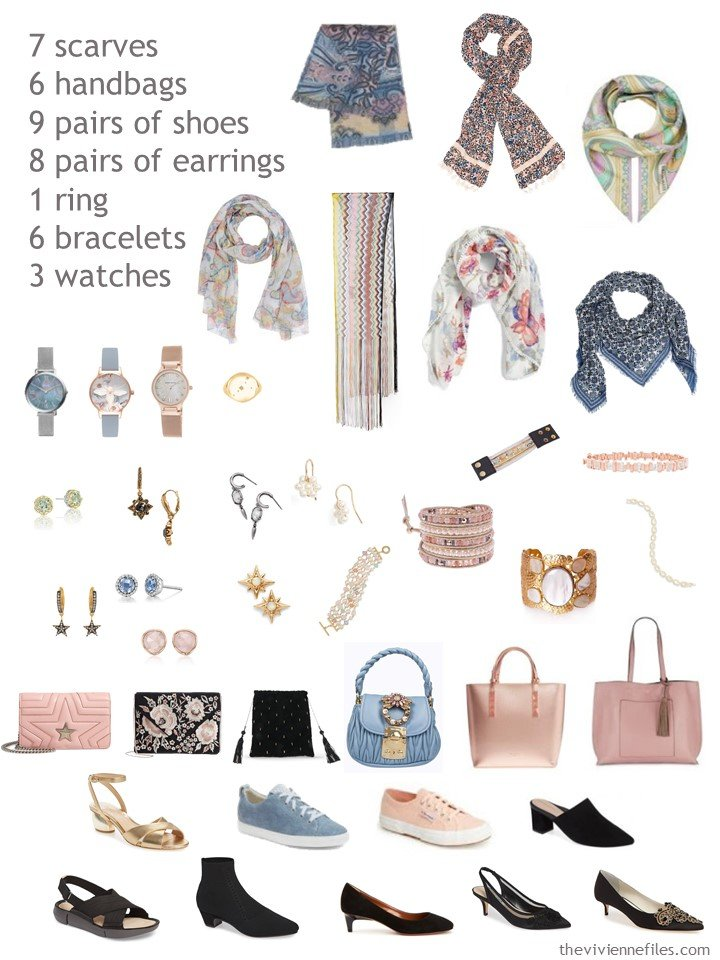 10. accessories for a black and pastel wardrobe