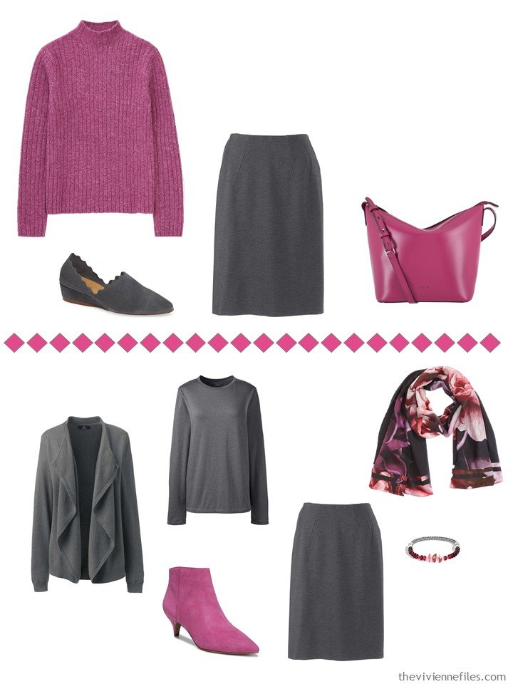 10. accessorizing a charcoal grey skirt with Pink Peacock