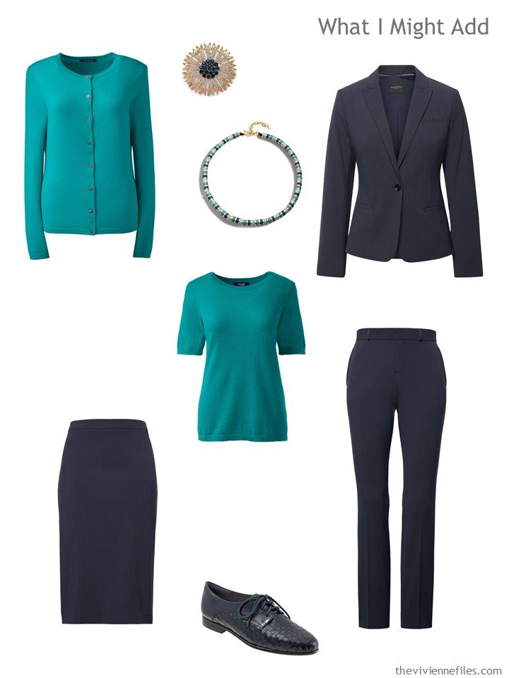 10. additions to a capsule wardrobe in navy, teal, yellow and pink