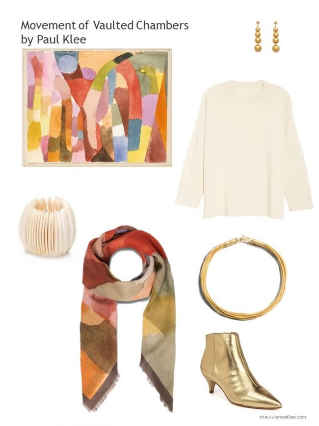 10. cream sweater and related geometric accessories
