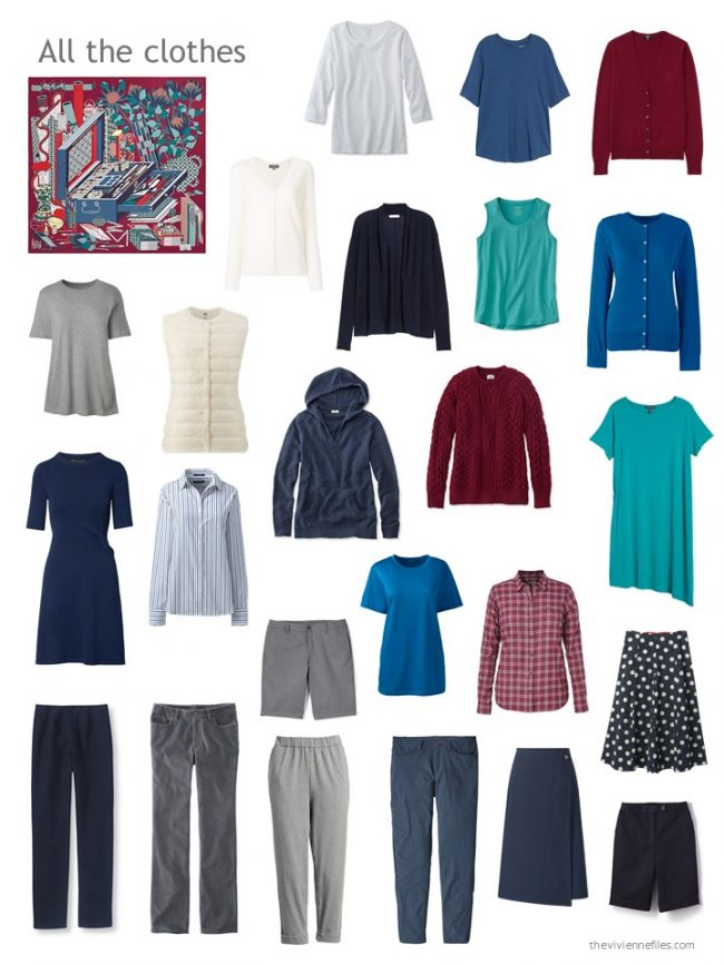10. navy, grey and burgundy capsule wardrobe