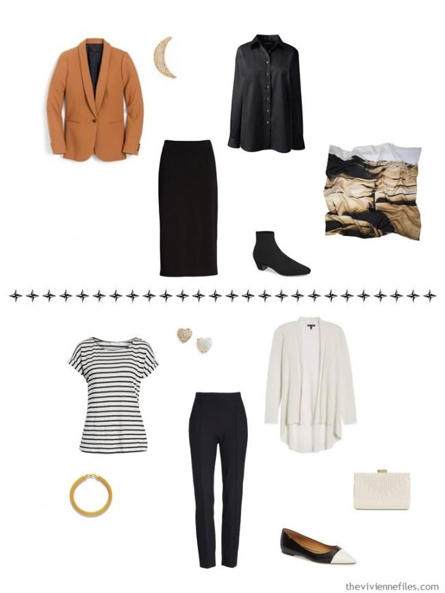 11. 2 additional outfits from a capsule wardrobe in black, ivory, teal and ivory