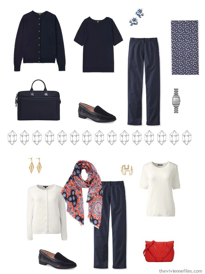 11. 2 outfits from a navy, red, blue and ivory capsule wardrobe