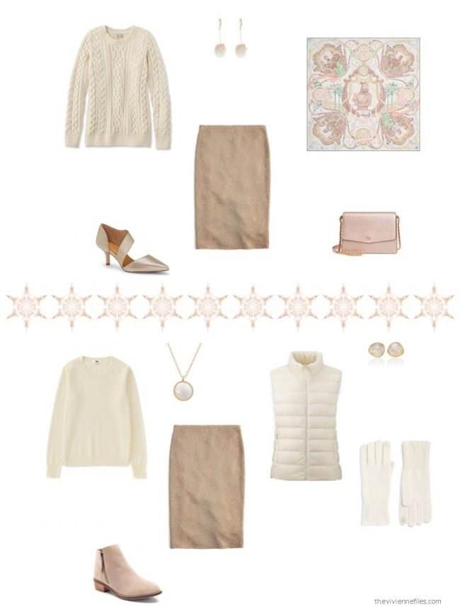 11. 2 ways to wear a gold skirt from a capsule wardrobe