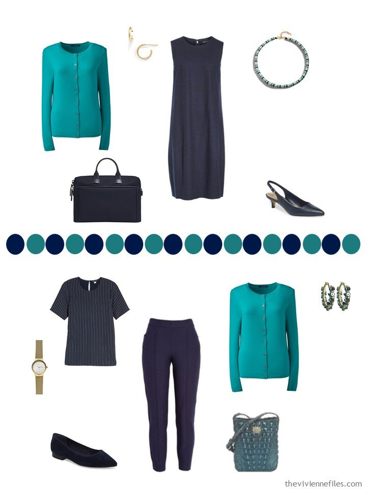 11. 2 ways to wear a teal cashmere cardigan in a capsule wardrobe