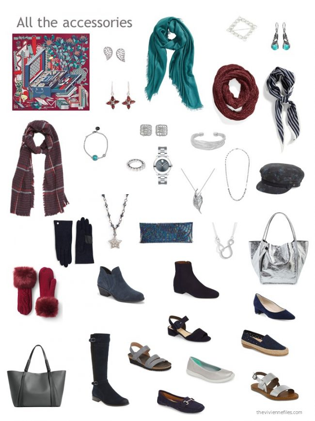 11. accessories for a burgundy, navy and grey capsule wardrobe