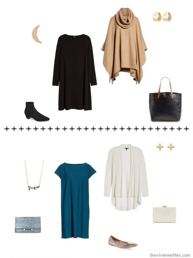 12. 2 additional outfits from a capsule wardrobe in black, ivory, camel and teal