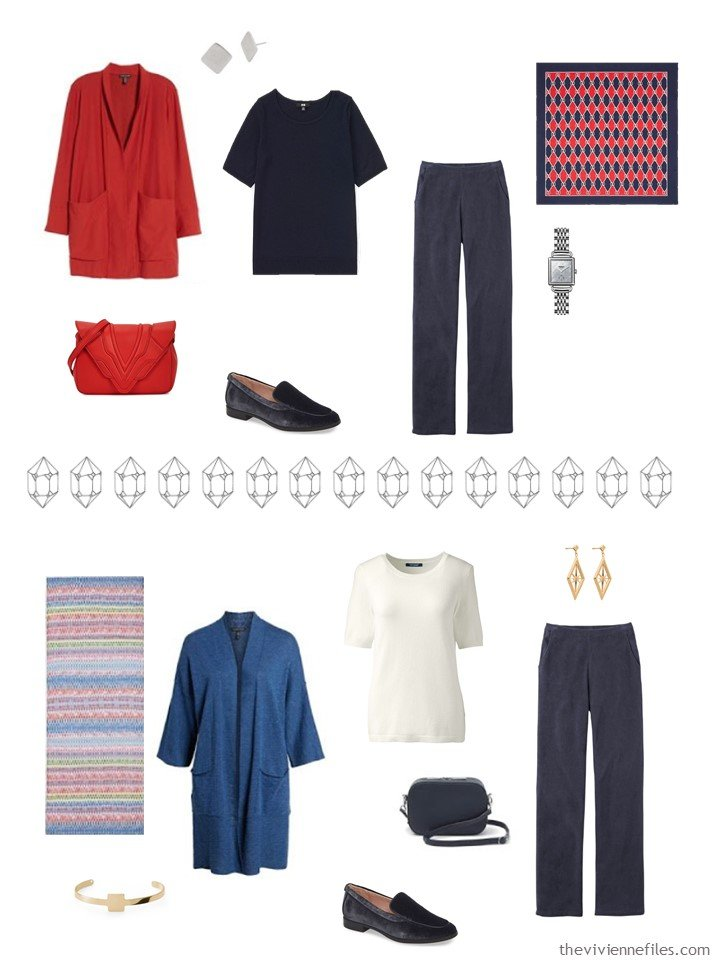 12. 2 outfits from a navy, red, blue and ivory capsule wardrobe