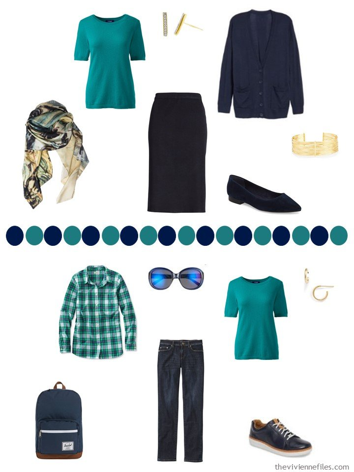 12. 2 ways to wear a teal cashmere short-sleeved sweater in teal in a capsule wardrobe