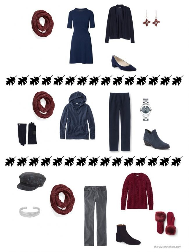 12. 3 ways to wear a burgundy infinity scarf from a capsule wardrobe