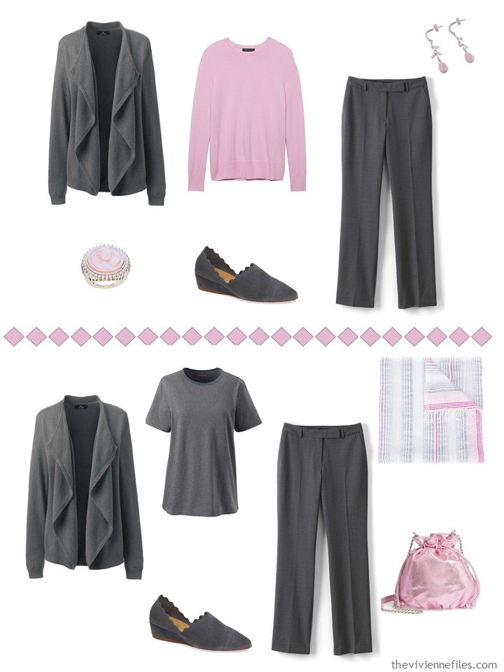 12. Accessorizing charcoal grey pants with Sweet Lilac