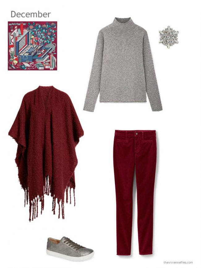 12. grey and cranberry winter outfit