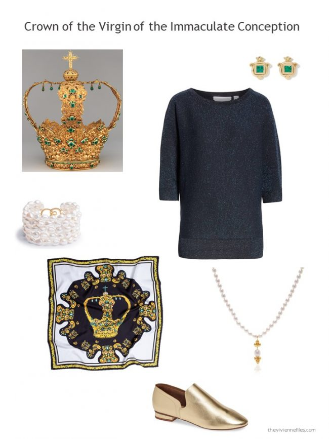 12. navy metallic top and related accessories