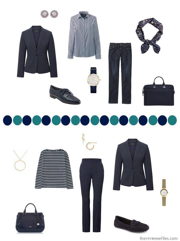 13. 2 ways to wear a navy blazer in a capsule wardrobe
