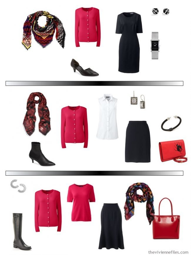 13. 3 ways to wear a red cardigan in a capsule wardrobe
