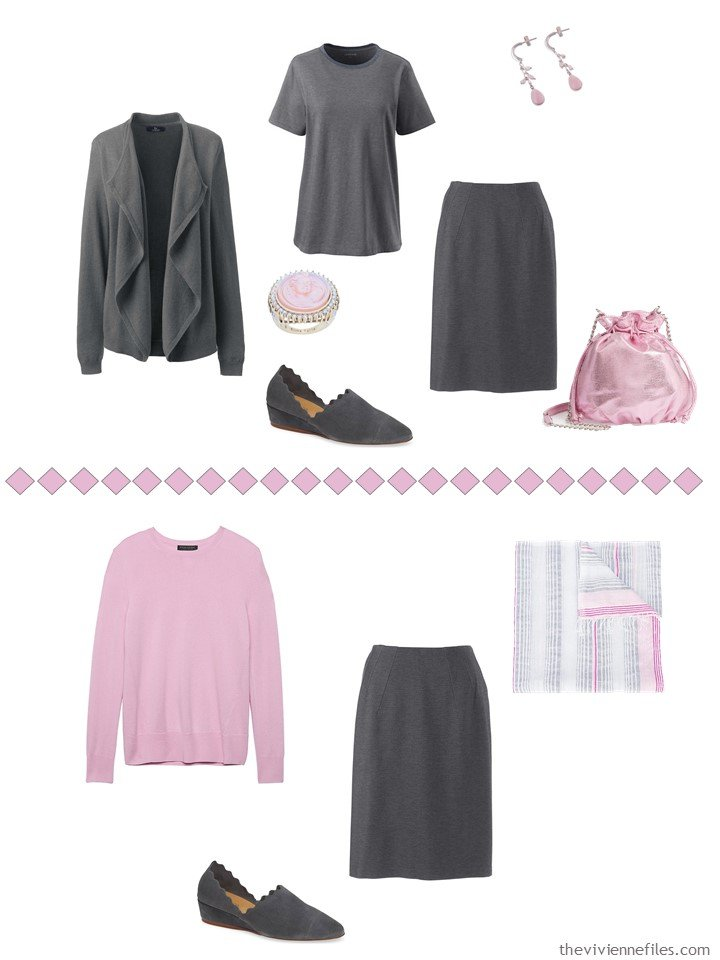 13. Accessorizing a charcoal grey skirt with Sweet Lilac