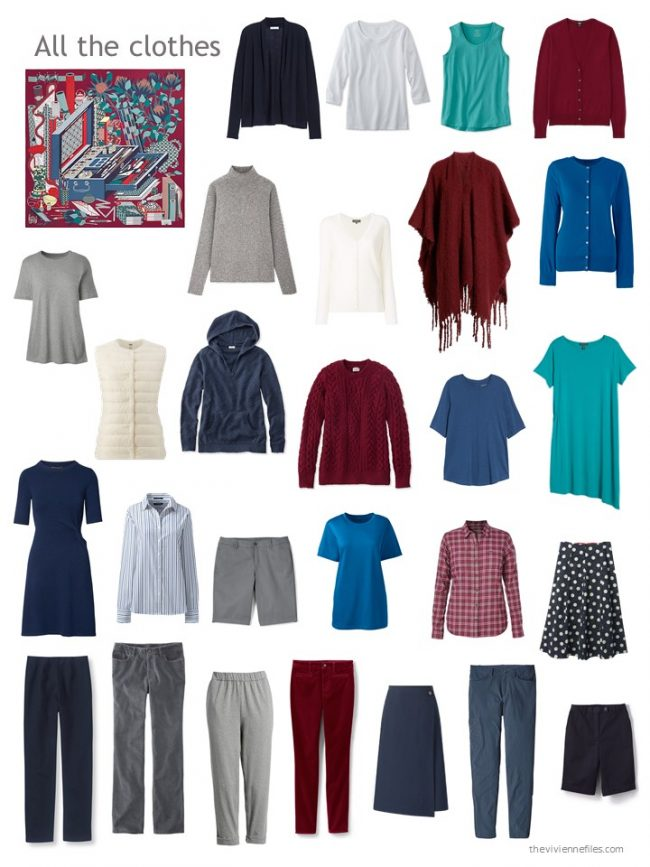 13. capsule wardrobe in navy, grey and cranberry